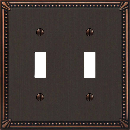 Amerelle Imperial Bead 2-Gang Cast Metal Toggle Switch Wall Plate, Aged Bronze