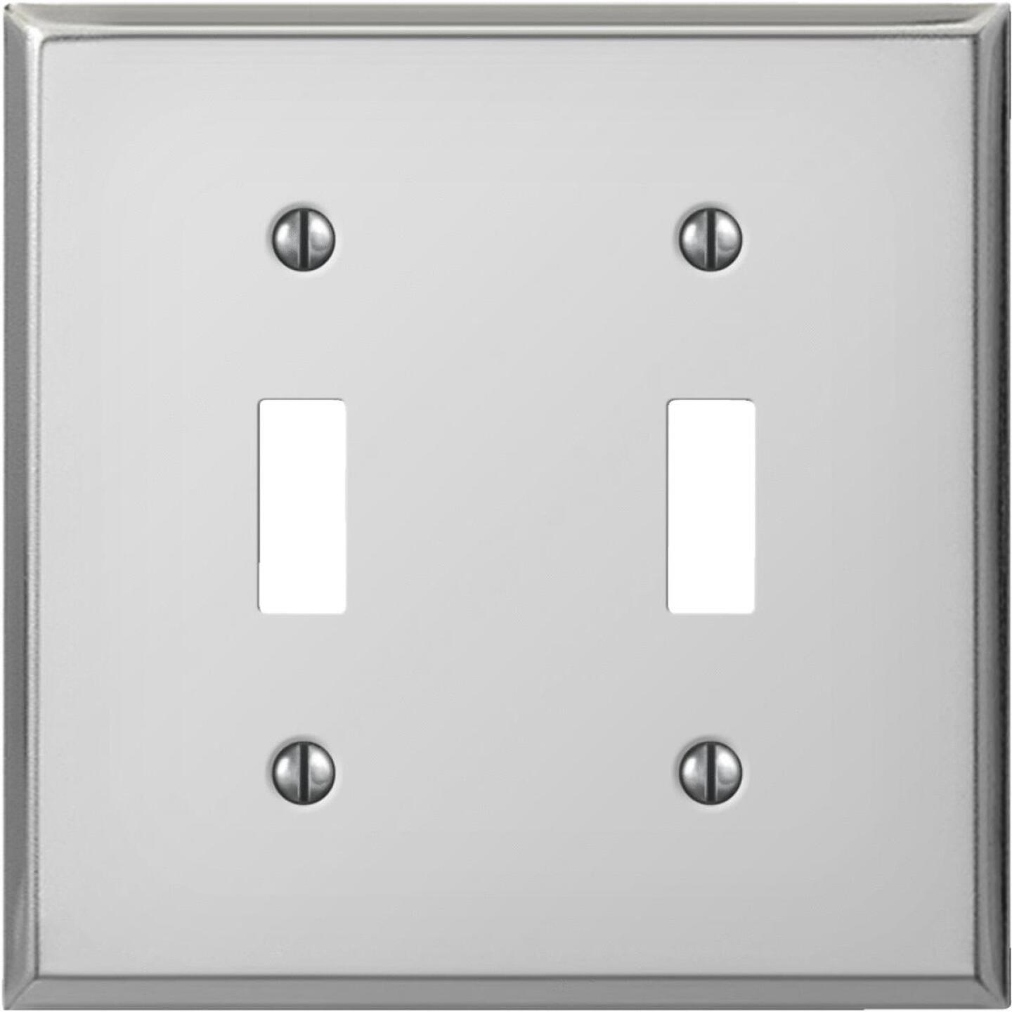Amerelle PRO 2-Gang Stamped Steel Toggle Switch Wall Plate, Polished Chrome Image 1