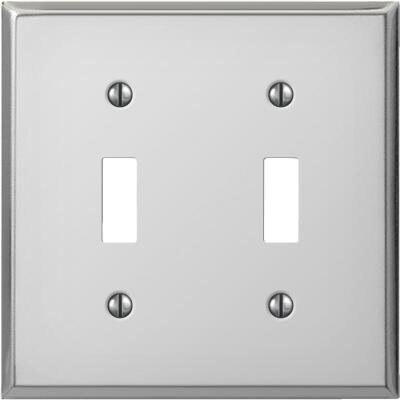 Amerelle PRO 2-Gang Stamped Steel Toggle Switch Wall Plate, Polished Chrome