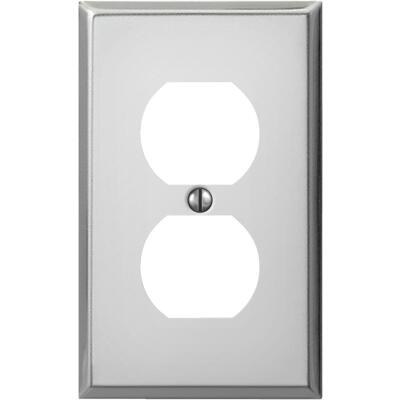 Amerelle PRO 1-Gang Stamped Steel Outlet Wall Plate, Polished Chrome