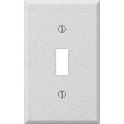 Amerelle PRO 1-Gang Stamped Steel Toggle Switch Wall Plate, White Wrinkle