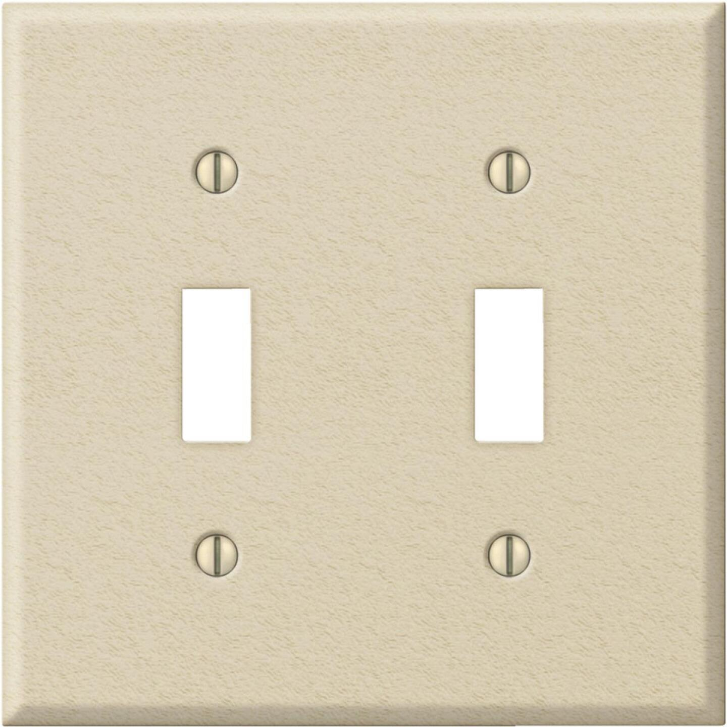Amerelle PRO 2-Gang Stamped Steel Toggle Switch Wall Plate, Ivory Wrinkle Image 1
