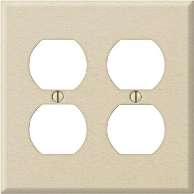 Amerelle PRO 2-Gang Stamped Steel Outlet Wall Plate, Ivory Wrinkle