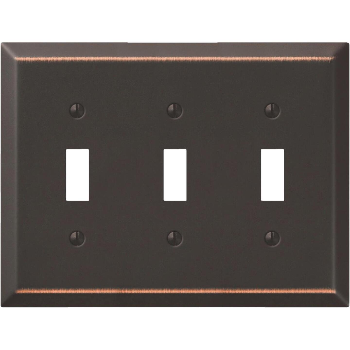 Amerelle 3-Gang Stamped Steel Toggle Switch Wall Plate, Aged Bronze Image 1