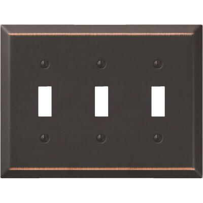 Amerelle 3-Gang Stamped Steel Toggle Switch Wall Plate, Aged Bronze
