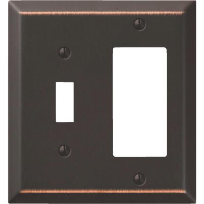 Amerelle 2-Gang Stamped Steel Single Toggle/Rocker Wall Plate, Aged Bronze