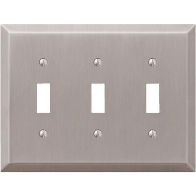 Amerelle 3-Gang Stamped Steel Toggle Switch Wall Plate, Brushed Nickel