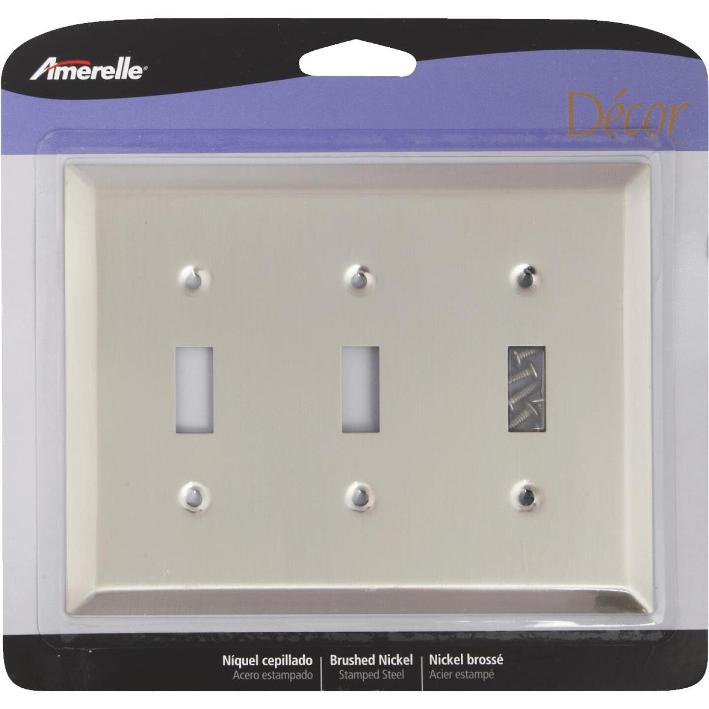 Amerelle 3-Gang Stamped Steel Toggle Switch Wall Plate, Brushed Nickel Image 2