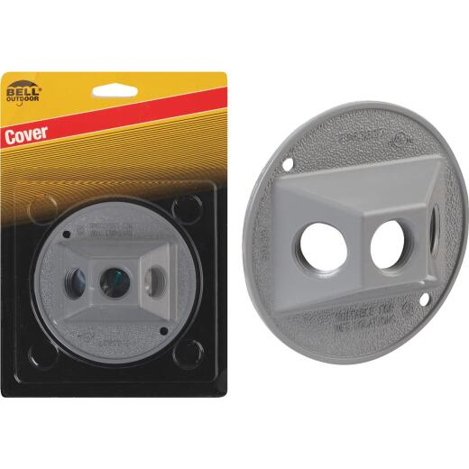 Bell 3-Outlet Round Zinc Gray Cluster Weatherproof Outdoor Box Cover, Carded