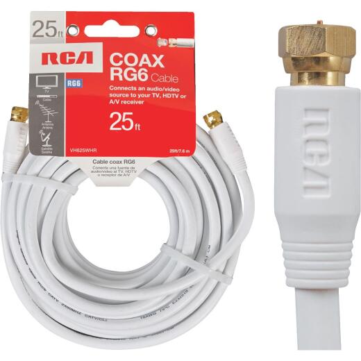 RCA 25 Ft. White RG6 Coaxial Cable