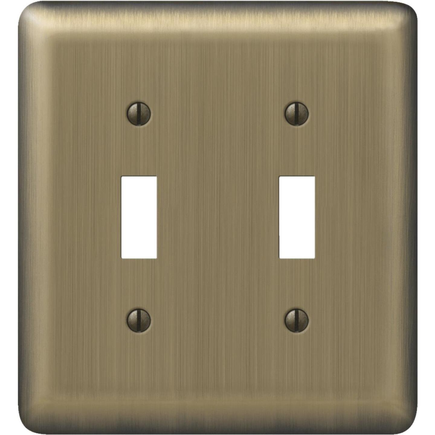 Amerelle 2-Gang Stamped Steel Toggle Switch Wall Plate, Brushed Brass Image 1