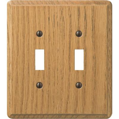 Amerelle 2-Gang Solid Oak Toggle Switch Wall Plate, Light Oak