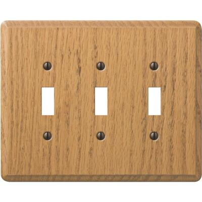 Amerelle 3-Gang Solid Oak Toggle Switch Wall Plate, Light Oak