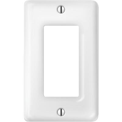 Amerelle 1-Gang Ceramic Rocker Decorator Wall Plate, White