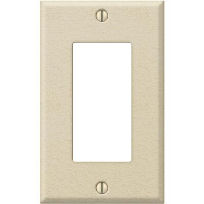 Amerelle PRO 1-Gang Stamped Steel Rocker Decorator Wall Plate, Ivory Wrinkle