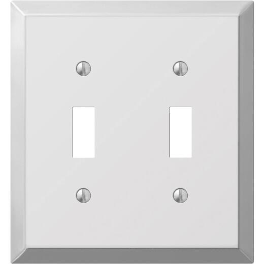 Amerelle 2-Gang Stamped Steel Toggle Switch Wall Plate, Polished Chrome