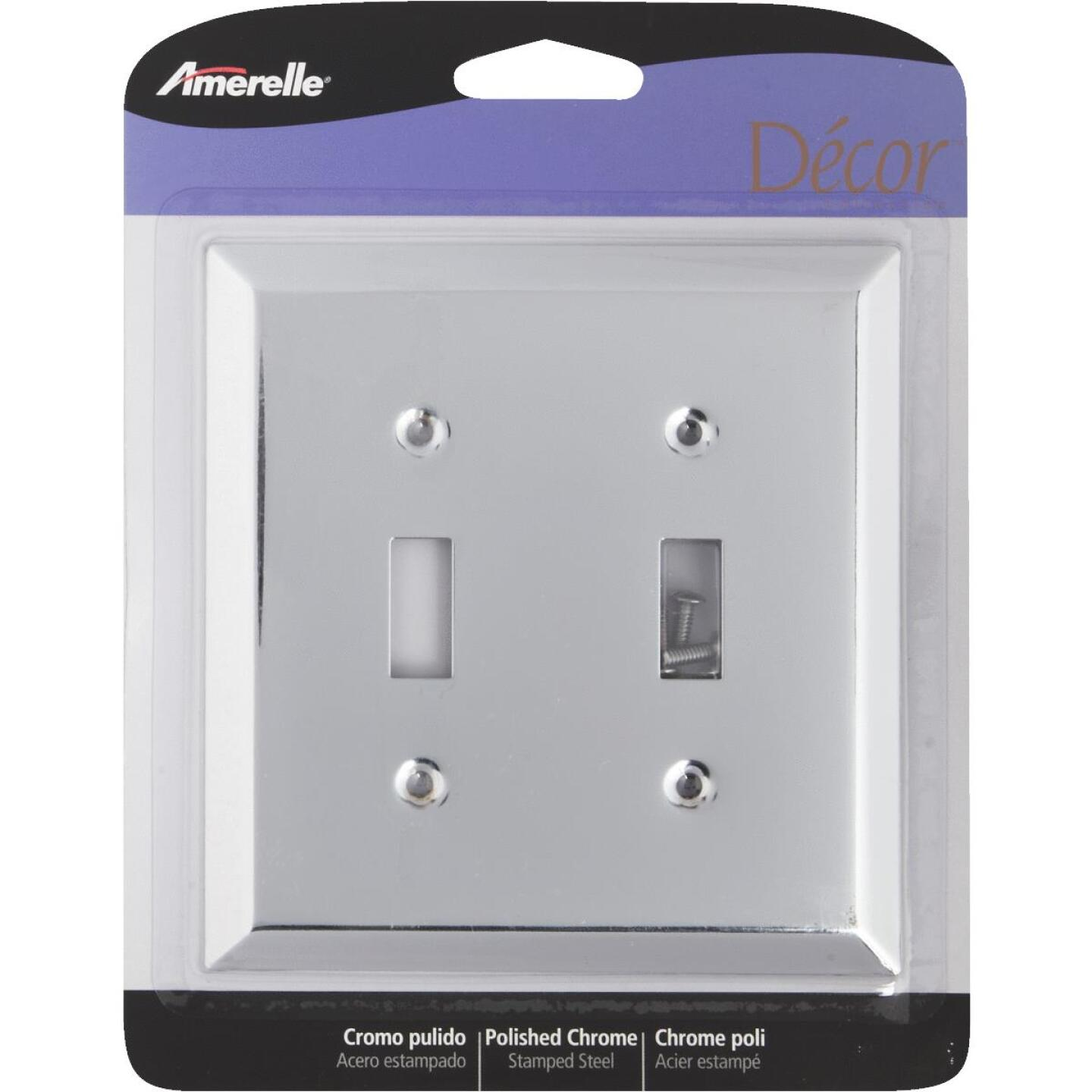 Amerelle 2-Gang Stamped Steel Toggle Switch Wall Plate, Polished Chrome Image 2