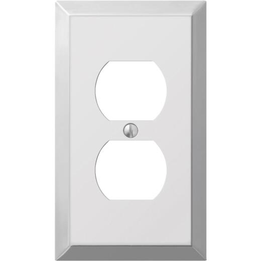 Amerelle 1-Gang Stamped Steel Outlet Wall Plate, Polished Chrome