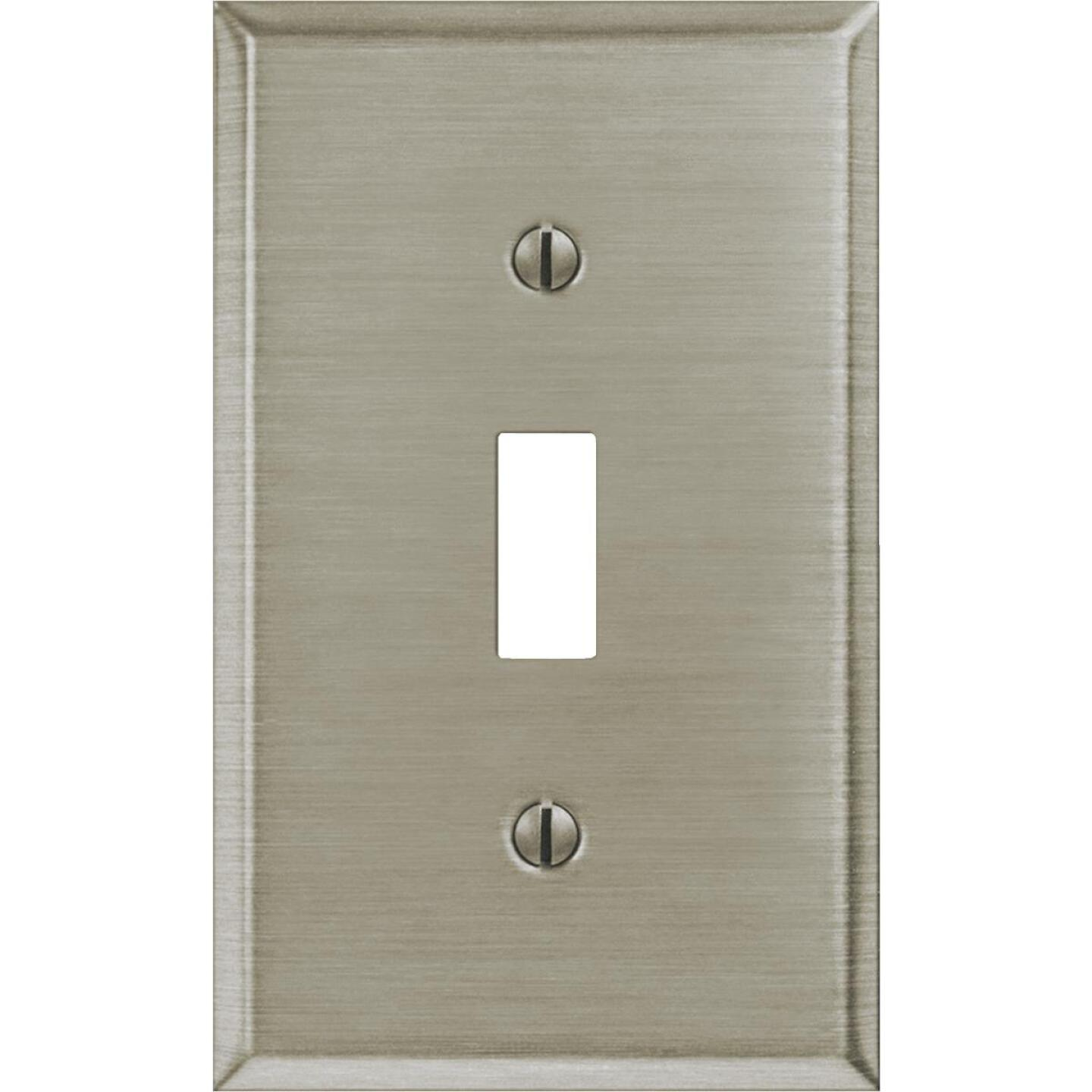 Amerelle 1-Gang Stamped Steel Toggle Switch Wall Plate, Brushed Nickel Image 2