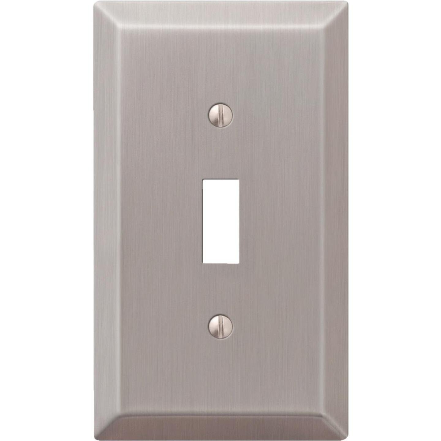 Amerelle 1-Gang Stamped Steel Toggle Switch Wall Plate, Brushed Nickel Image 1