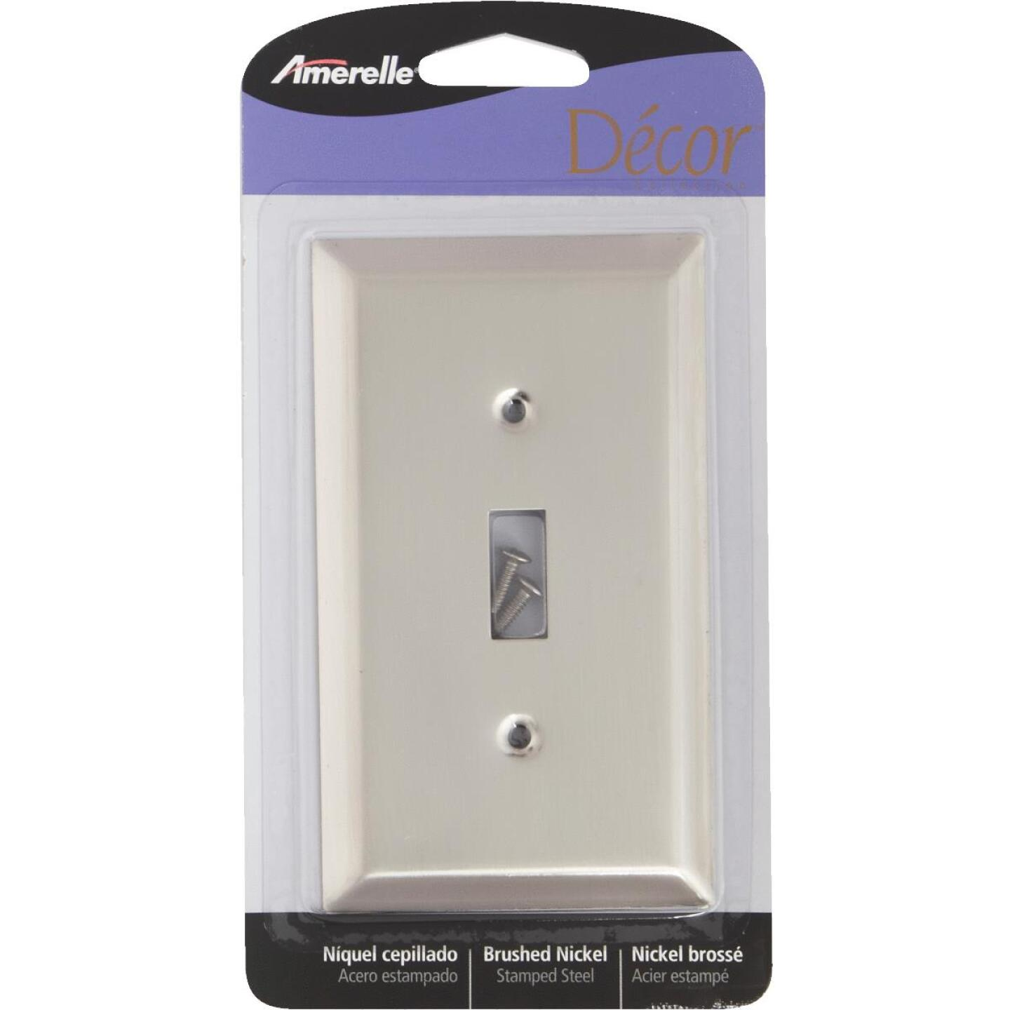 Amerelle 1-Gang Stamped Steel Toggle Switch Wall Plate, Brushed Nickel Image 3