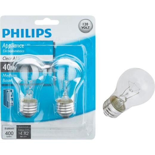 Philips 40W Clear Medium A15 Incandescent Appliance Light Bulb (2-Pack)