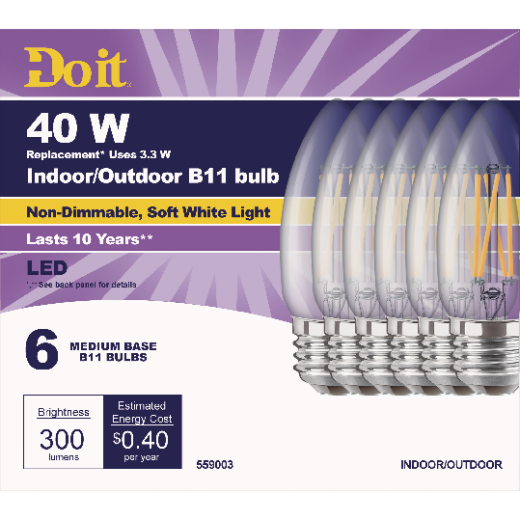Do it 40W Equivalent Soft White B11 Medium LED Decorative Light Bulb, Title 20 (6-Pack)