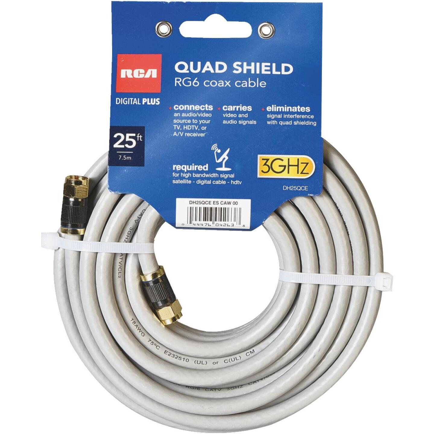 RCA 25 Ft. Gray Quad RG6 Coaxial Cable Image 1