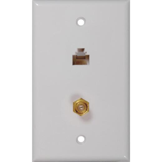 RCA White CAT 5/6 Single Coaxial Wall Plate