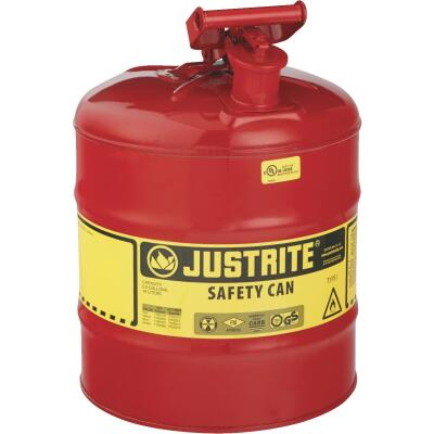 Justrite 5 Gal. Type I Galvanized Steel Safety Fuel Can, Red