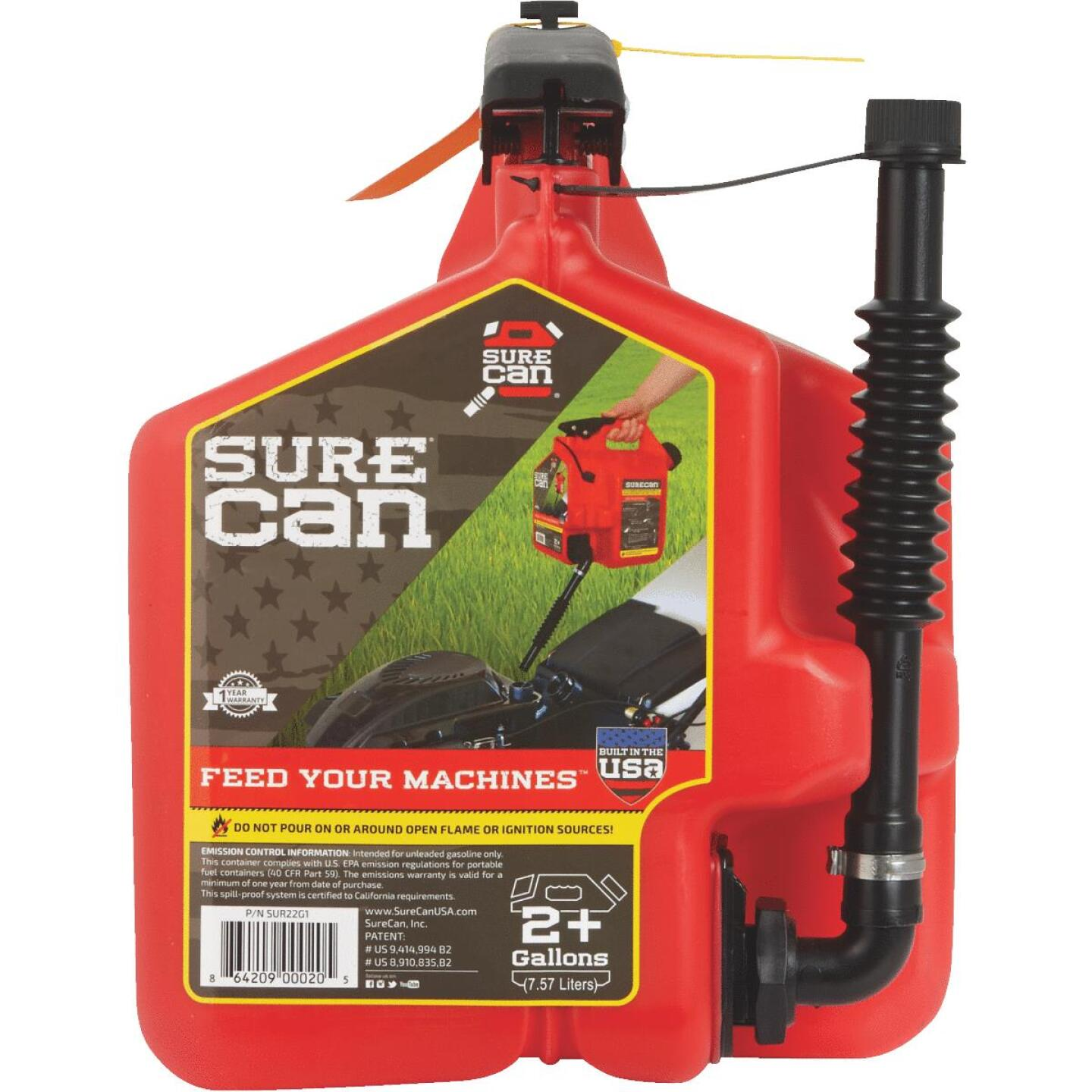 SureCan 2.2 Gal. Plastic Gasoline Fuel Can, Red Image 2