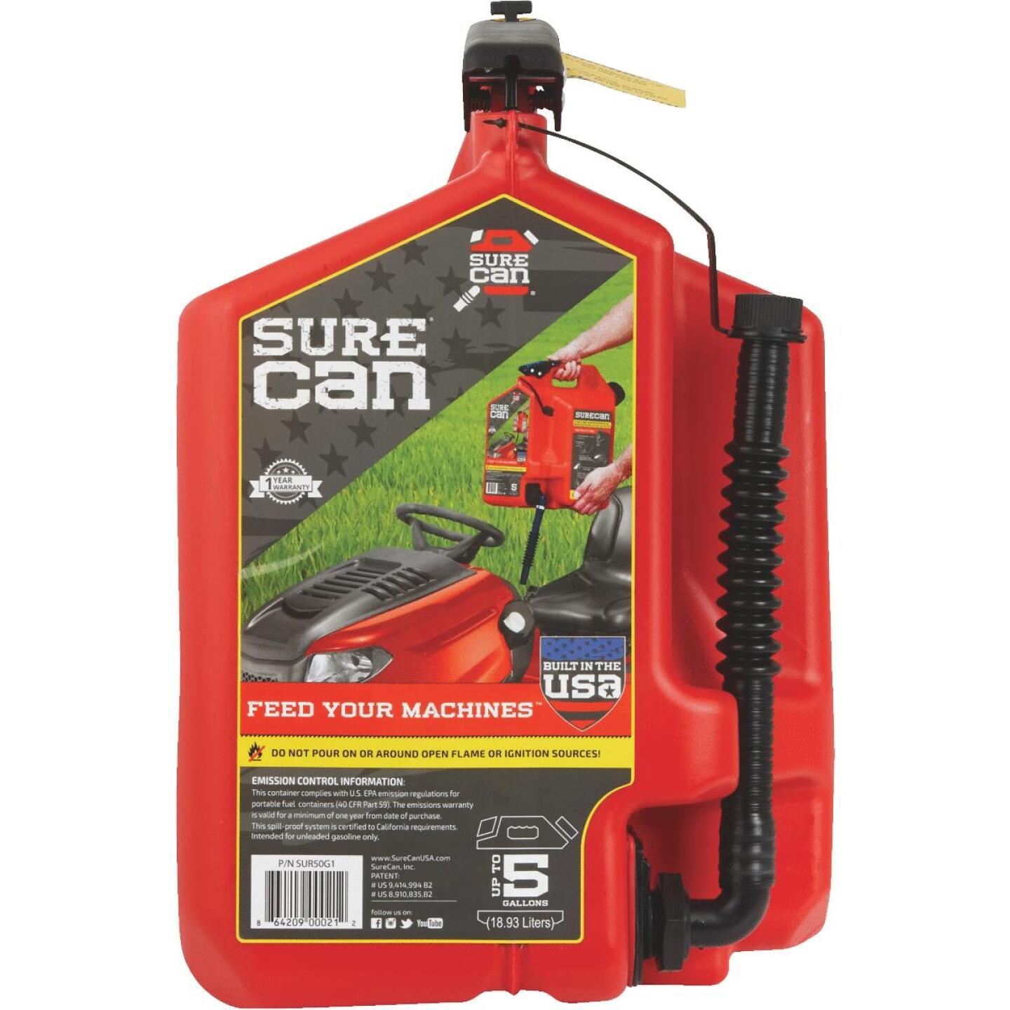 SureCan 5 Gal. Plastic Gasoline Fuel Can, Red Image 2