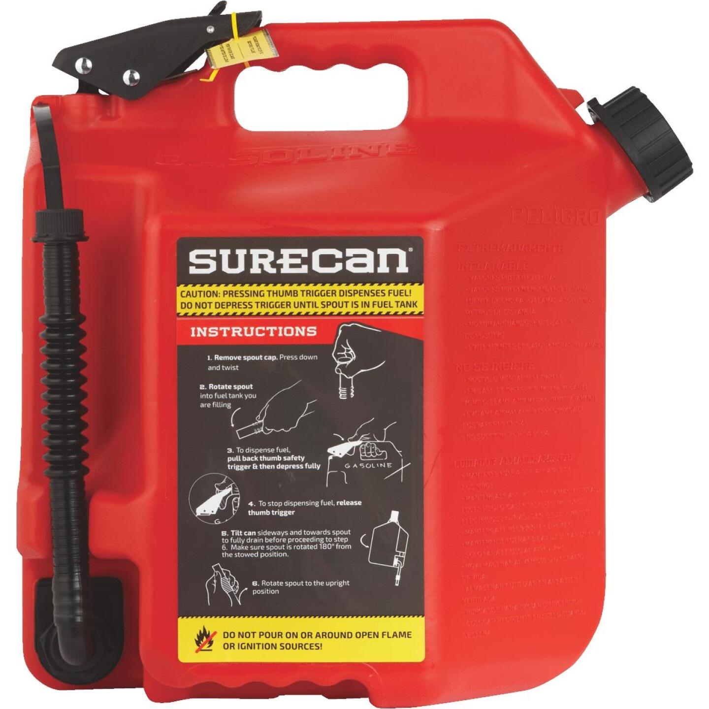 SureCan 5 Gal. Plastic Gasoline Fuel Can, Red Image 3