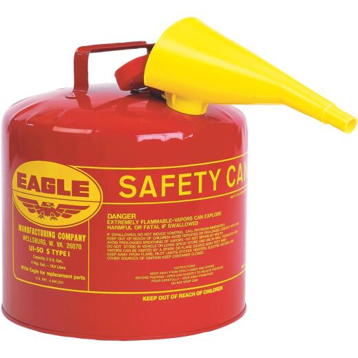 Eagle 5 Gal. Type I Galvanized Steel Gasoline Safety Fuel Can, Red
