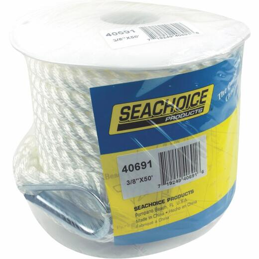 Seachoice 3/8 In. x 50 Ft. 3-Strand Twisted Nylon Anchor Line