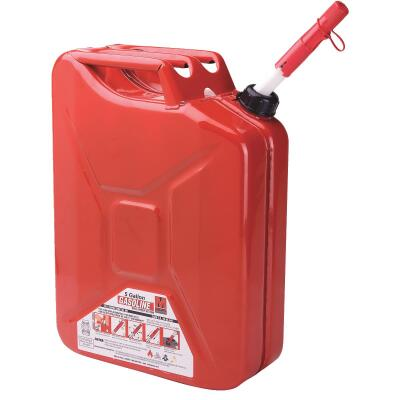 Midwest Can 5 Gal. Steel Gasoline Jerry Fuel Can, Red