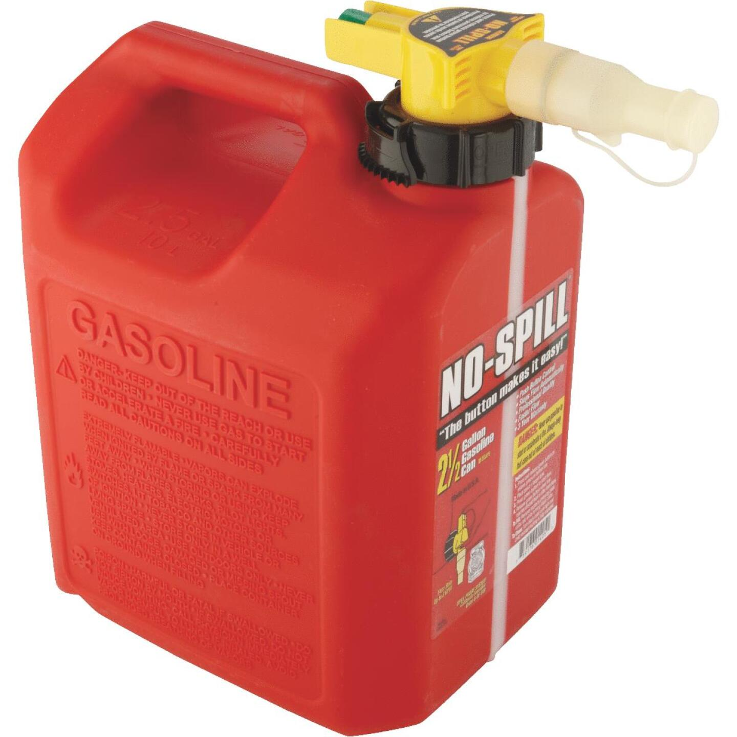 No-Spill 2-1/2 Gal. Plastic Gasoline Fuel Can, Red Image 2