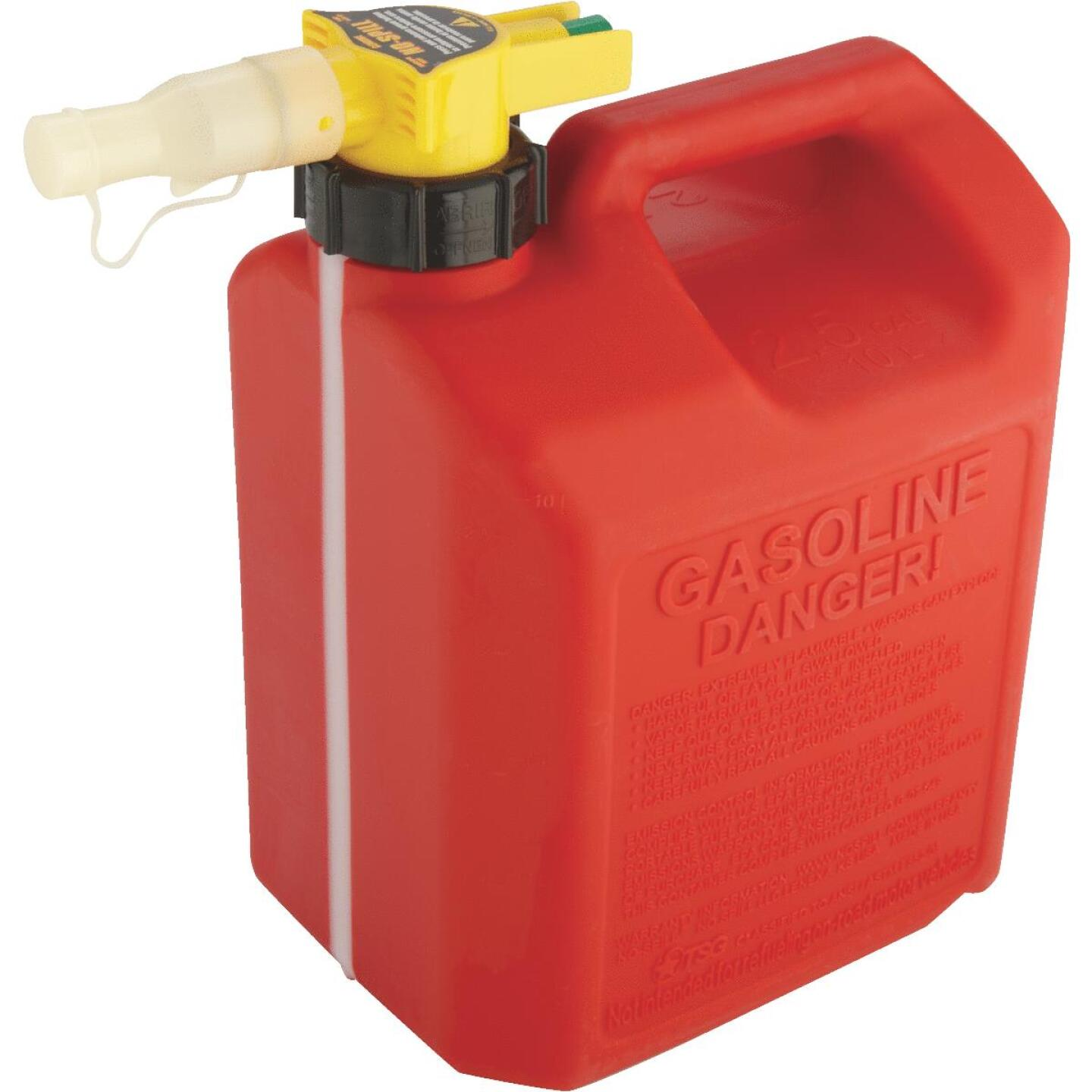 No-Spill 2-1/2 Gal. Plastic Gasoline Fuel Can, Red Image 3
