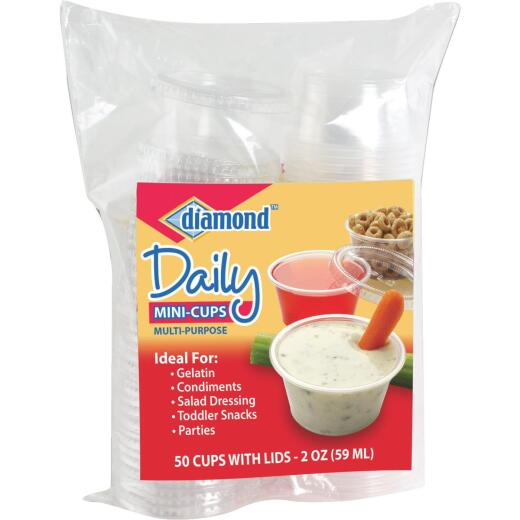 Diamond 2 Oz. Clear Plastic Cups with Lid (50-Pack)