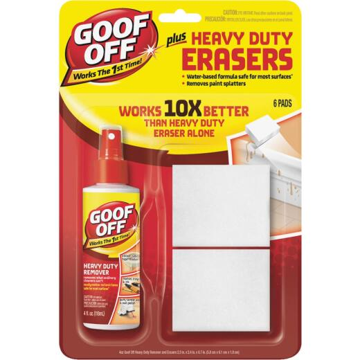 Goof Off 4 Oz. Heavy Duty All Purpose Remover Plus Eraser Pads