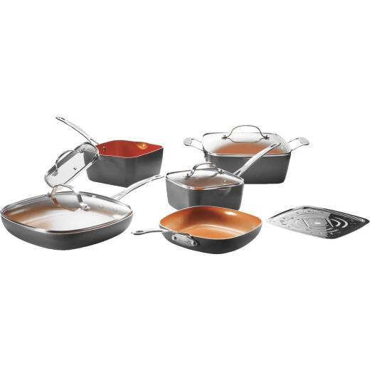 Gotham Steel Gray Non-Stick Aluminum Square Cookware Set (10-Piece)