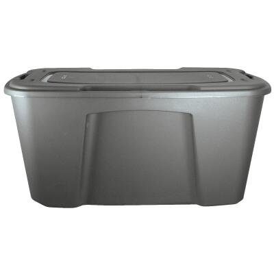Homz 49 Gal. Gray Wheeled Storage Tote