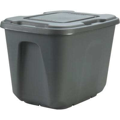 Homz 10 Gal. Gray 4-Way Handle Storage Tote
