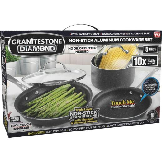 GraniteStone Diamond 5-Piece Non-Stick Aluminum Cookware Set