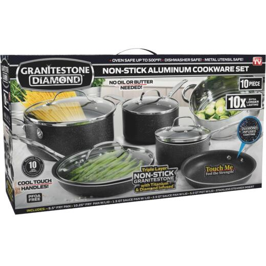GraniteStone Diamond 10-Piece Non-Stick Aluminum Cookware Set