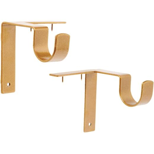 Kwik-Hang 1 In. x 3 In. Projection Gold Curtain Rod Bracket (2-Pack)
