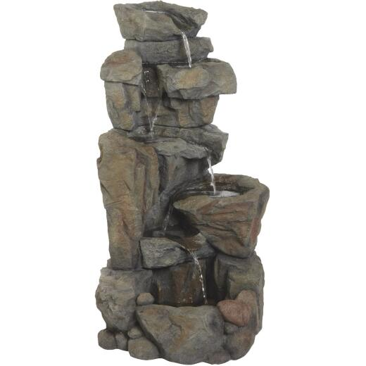Best Garden 22 In. W. x 42 In. H. x 22 In. L. Resin Rock Fountain