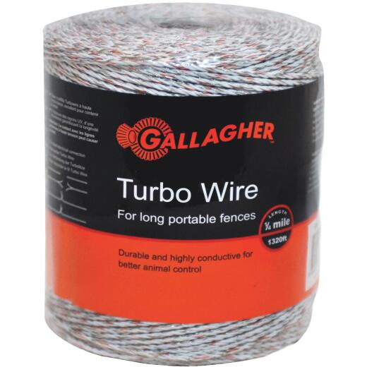 Gallagher 1/8-Mile Mixed-Metal Strands UV Stabilized Electric Fence Turbo Wire