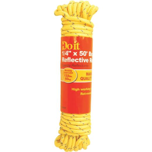 Do it 1/4 In. x 50 Ft. Yellow Braided Reflective Polypropylene Packaged Rope