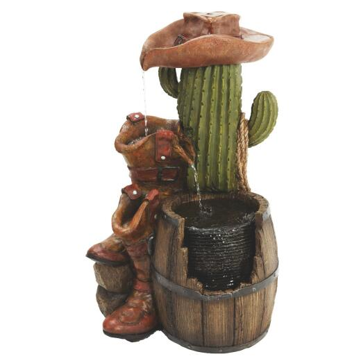 Best Garden 16 In. W. x 28 in. H. x 18 In. L. Resin Cactus Fountain
